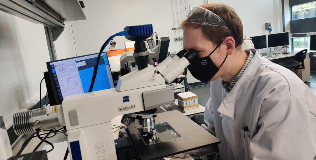 First Graphene team member in laboratory