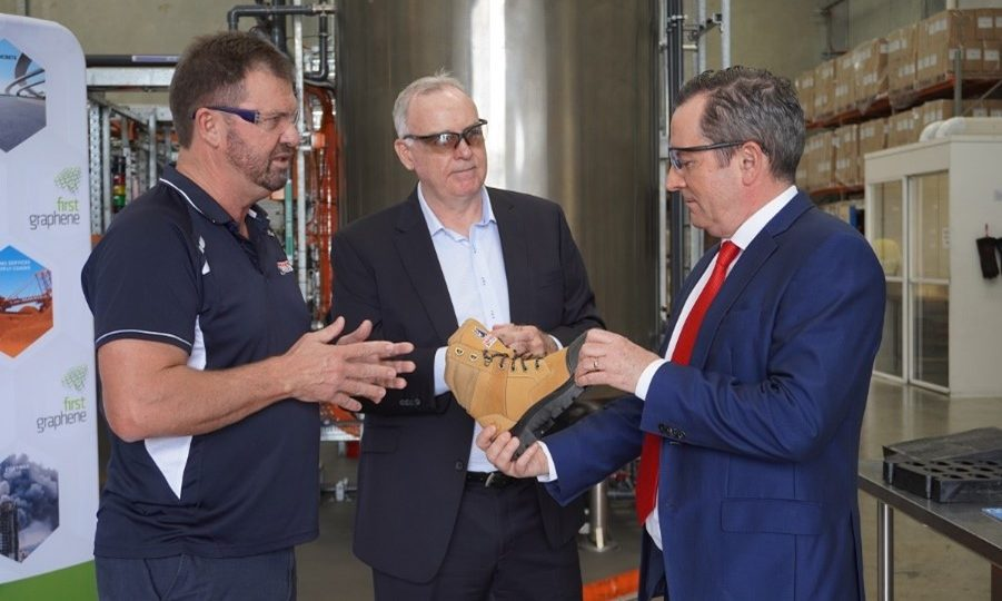 Premier Mark McGowan talks to Steel Blue Co-founder Ross Fitzgerald and First Graphene Managing Director Craig McGuckin about the footwear manufacturer's new range of PureGRAPH®-enhanced safety boots.