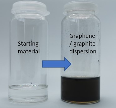 Photo showing bottle of starting material and a bottle of graphene/graphite dispersion