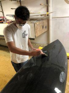 Graphene enhanced Katana Surfboard during manufacture.